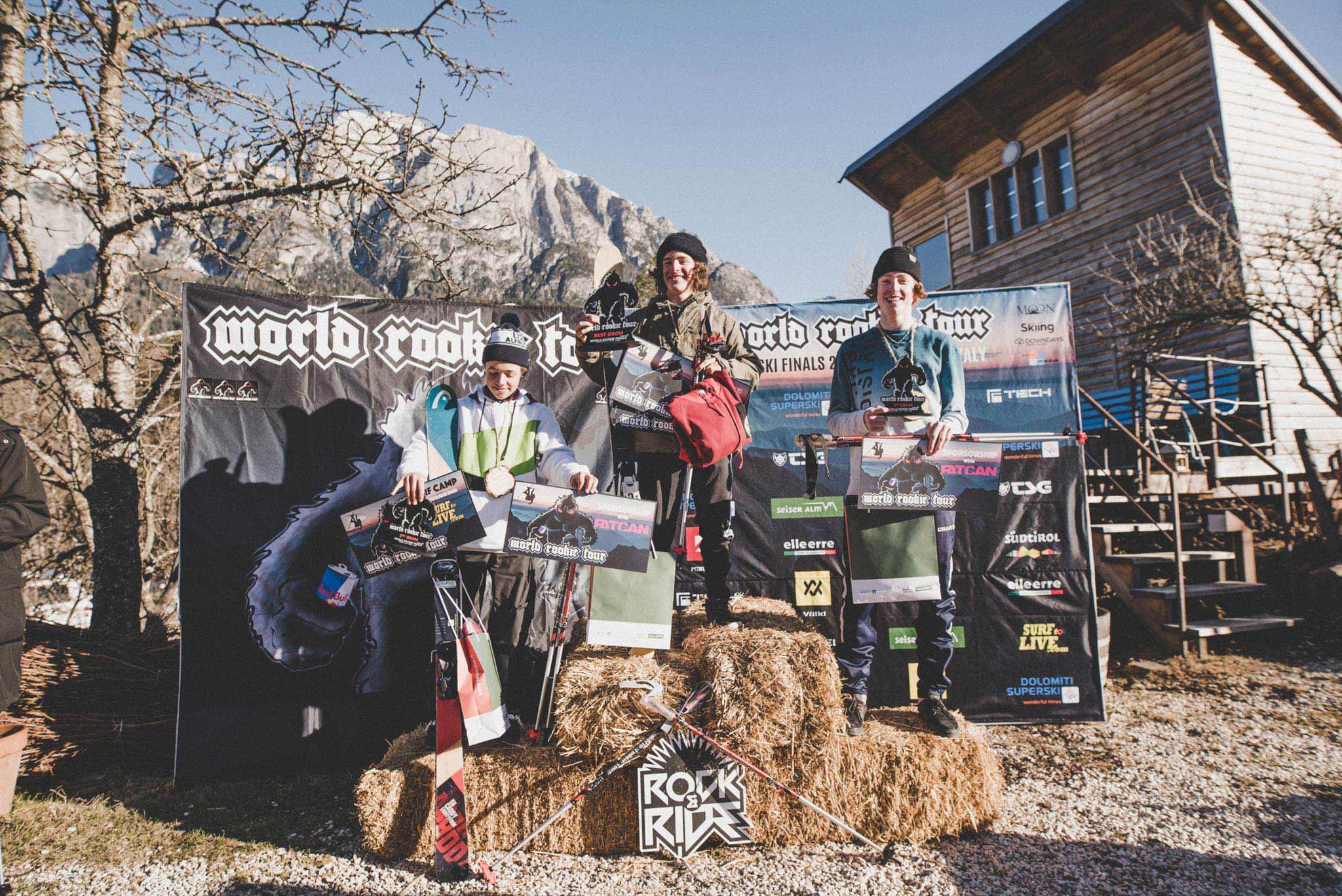 Die drei besten Groms beim World Rookie Tour 2019 Finale auf der Seiser Alm: Gian Andri Bolinger (SUI), Matej Svancer (CZE) & Noah Ressel (AUT) - Foto: Ania Grzelka
