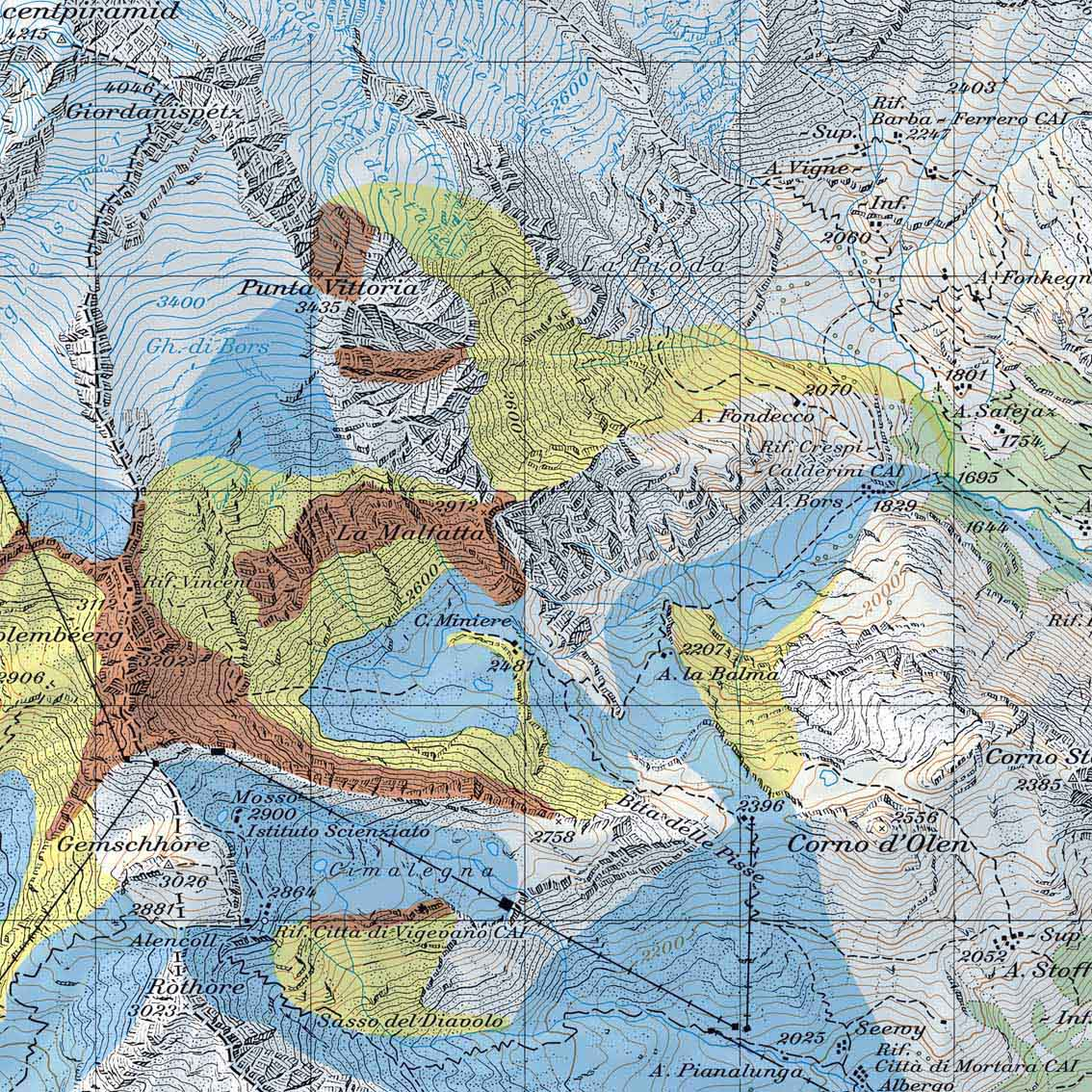 Kartenausschnitt Freeride Map Monte Rosa