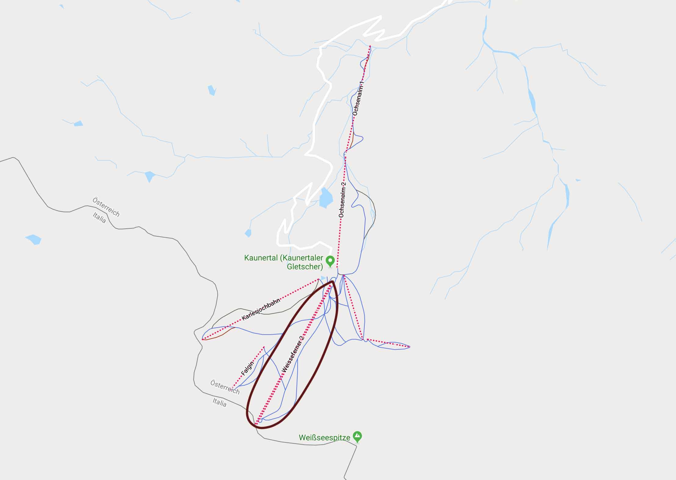 Der Standort für die neuen Falginjochbahn in der Übersicht - Foto: Google Maps