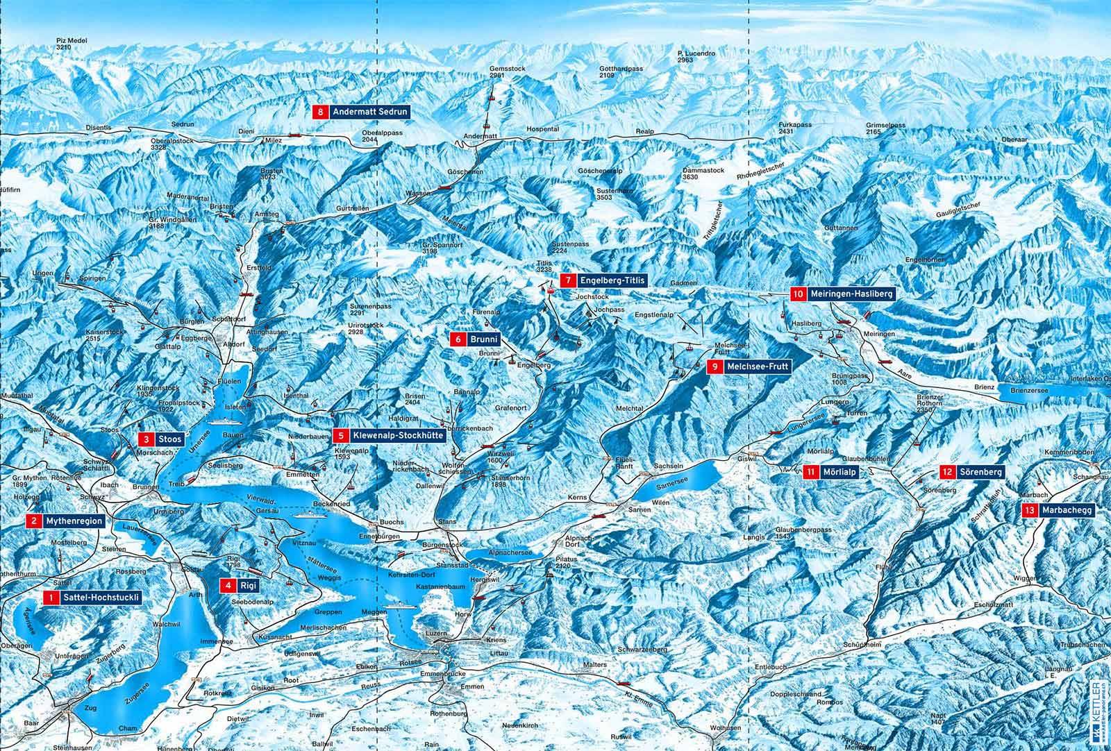 Übersicht: Die Gebiete des Schneepass Zentralschweiz 2019/2020