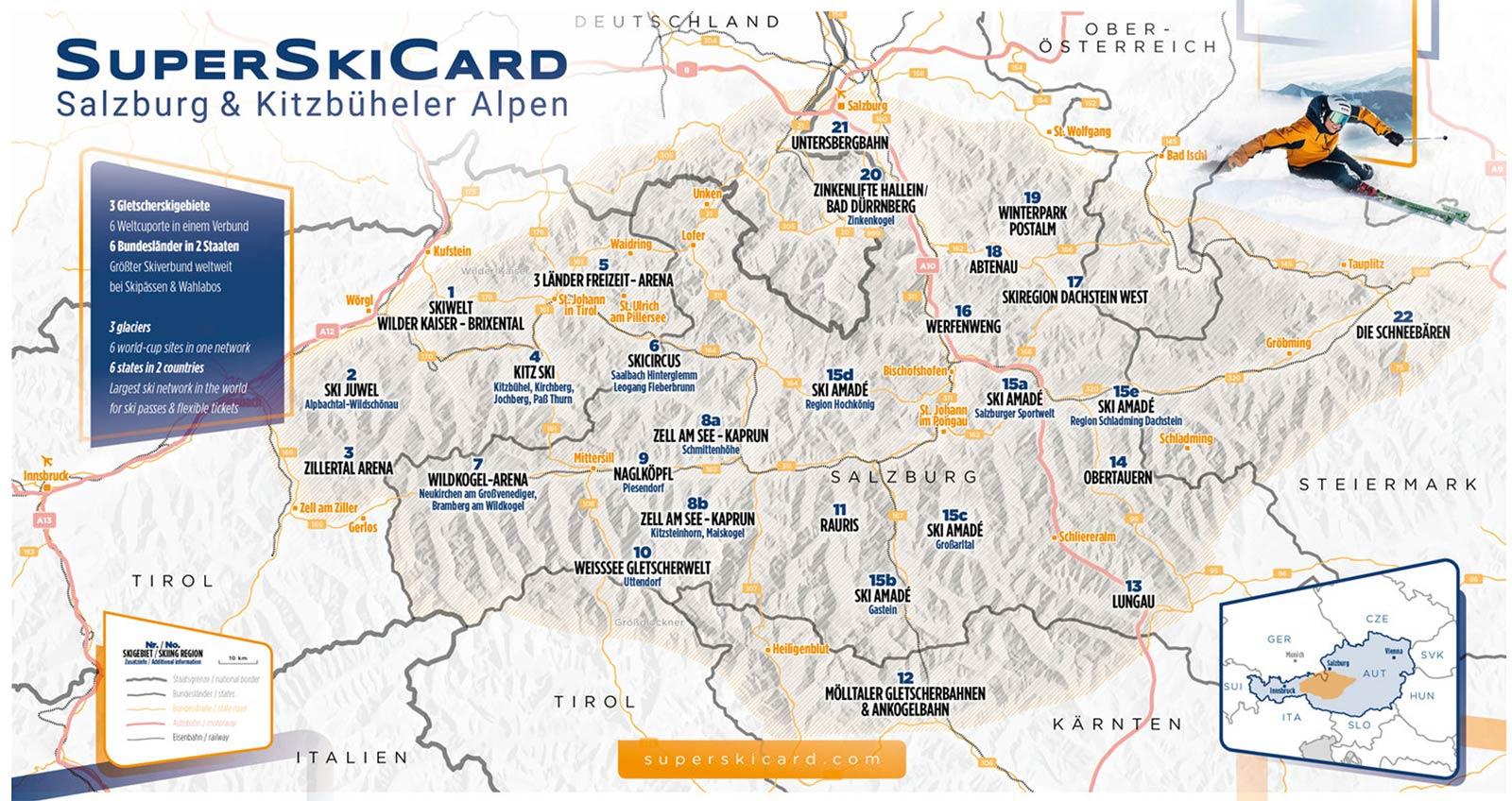 Übersicht: Die Gebiete der SuperSkiCard - Skipässe und Saisonkarten 2020