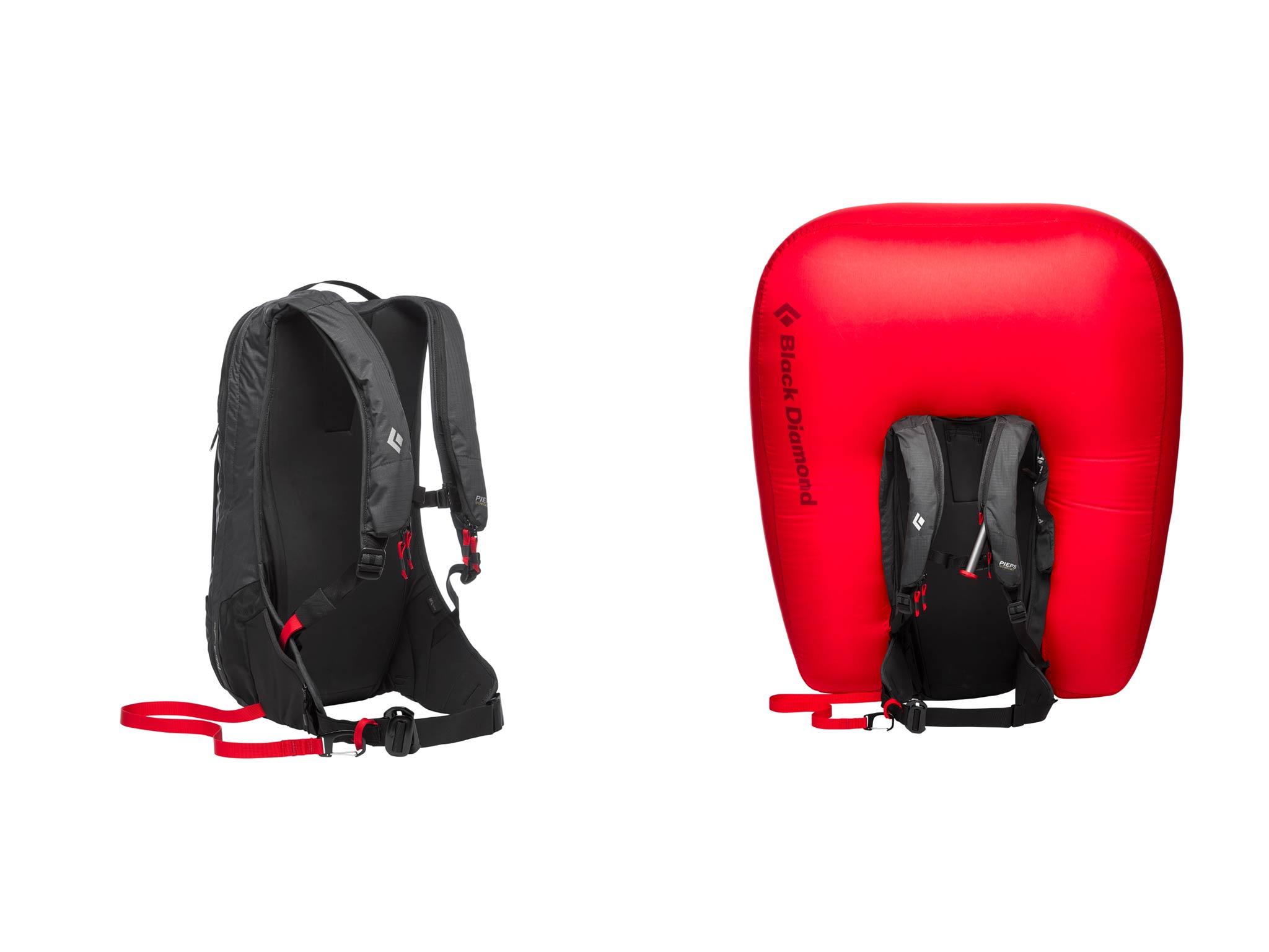 Der Black Diamond Jetforce Pro von hinten sowie mit aufgeblasenem Airbag.