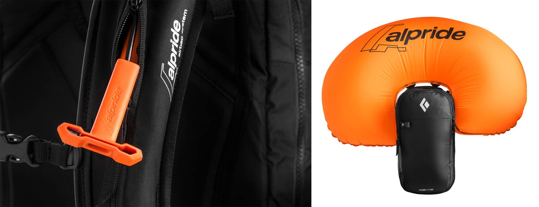 Der Auslösegriff am Black Diamond Jetforce Alpride Lawinenrucksack sowie der Rucksack mit augelöstem Lawinenairbag.