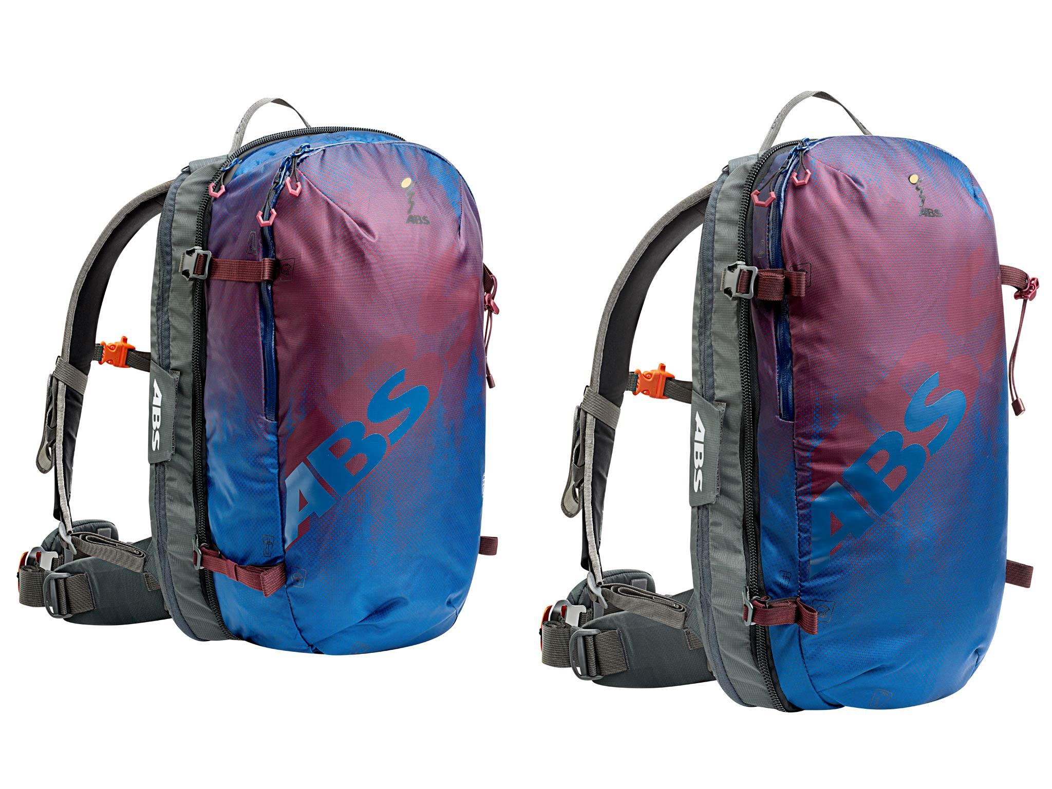 Der neue ABS ZipOn in der Farbe DAWN (Weinrot und Blau) - links die 30L und rechts die 15L Version