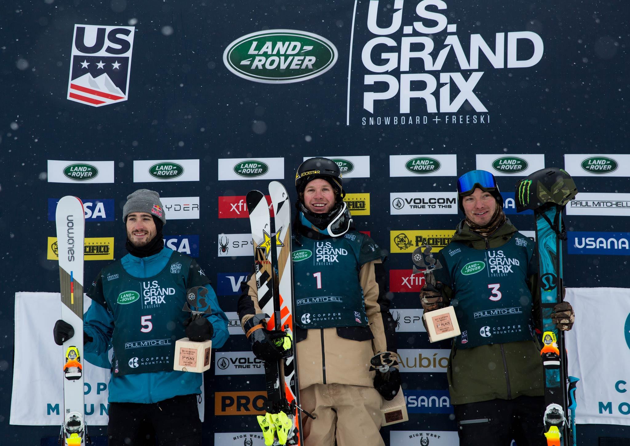 Das Podium der Männer: Noah Bowman (CAN), Aaron Blunck (USA), David Wise (USA). - Foto: FIS Freestyle