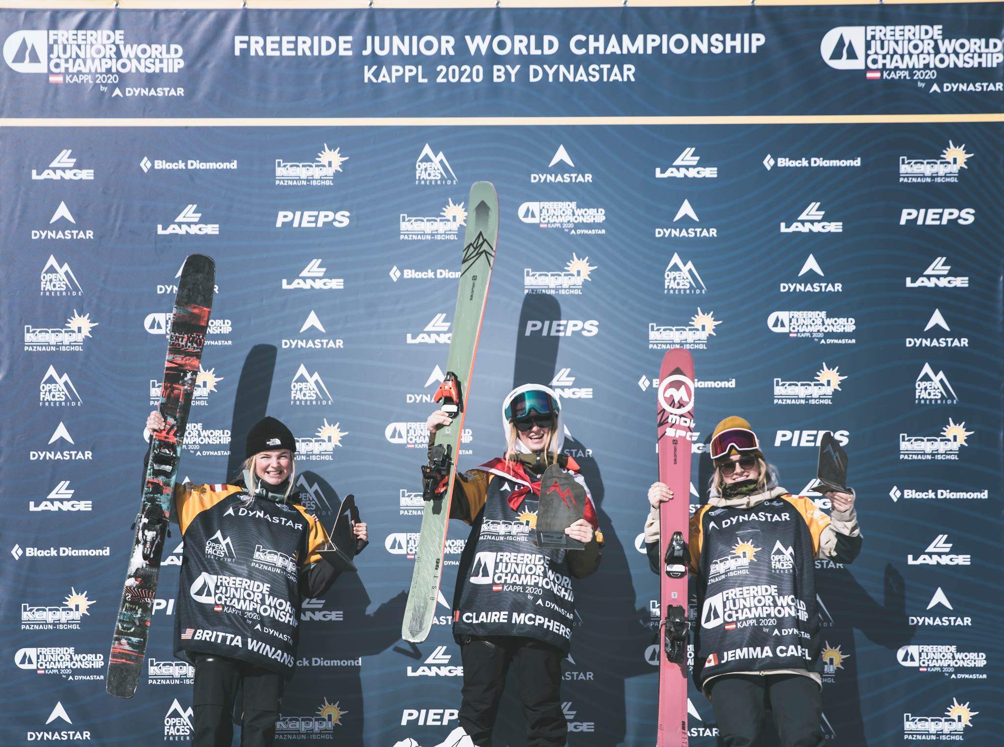 Die drei besten Frauen bei den Junior World Championship Kappl 2020: Britta Winans (USA), Claire McPherson (CAN), Jemma Capel (CAN) - Foto: Mia Knoll