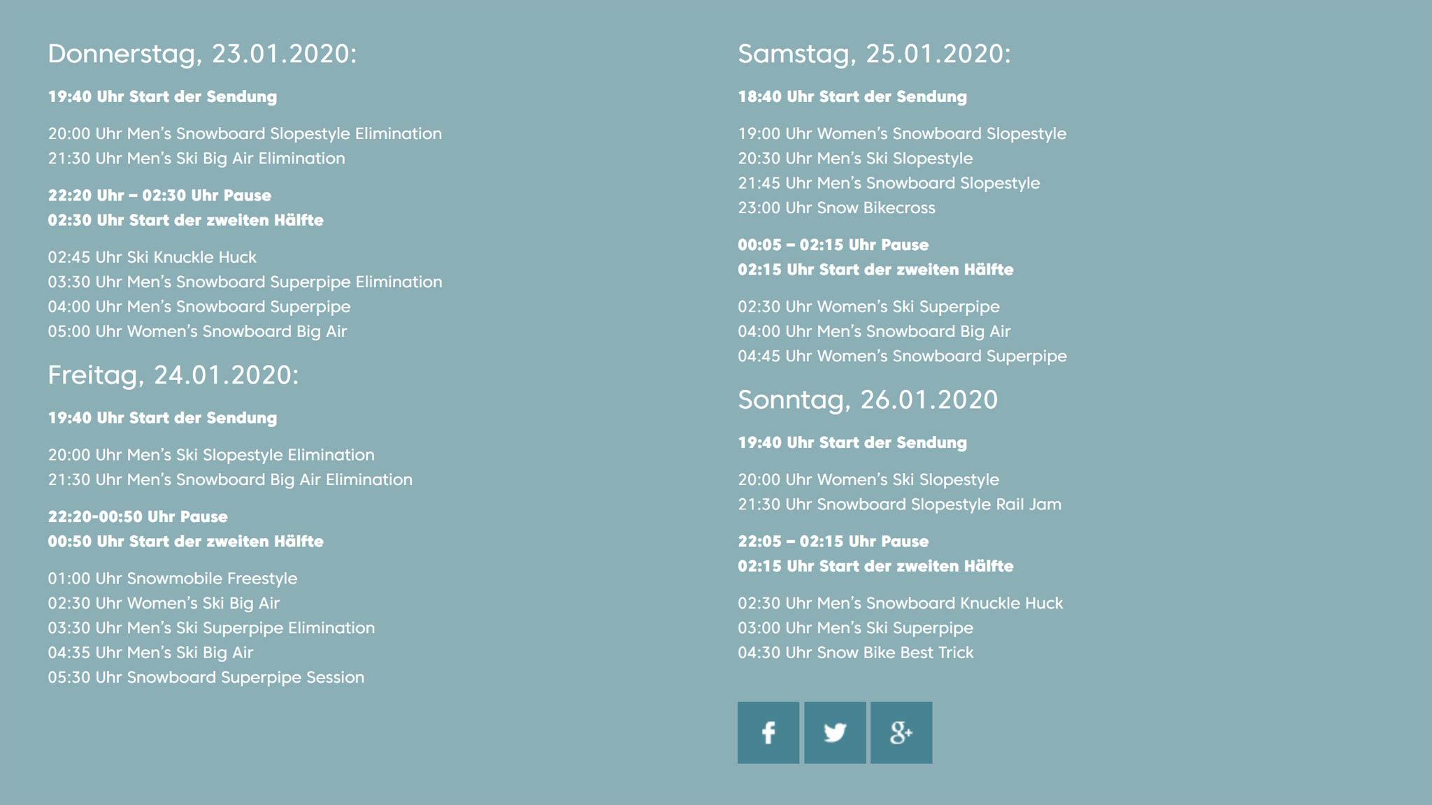 Der ProSieben Fun Timetable für die Übertragung der X Games Aspen 2020.