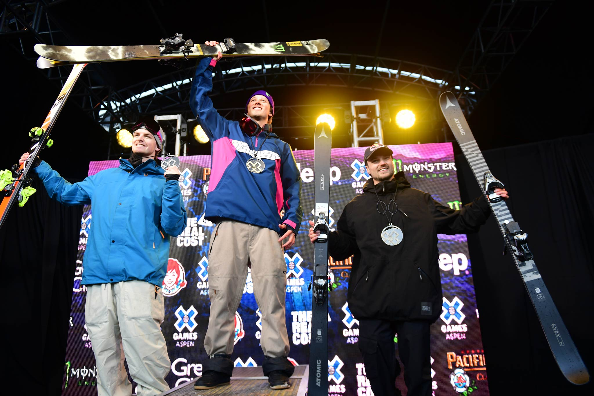 Die drei besten Slopestyler bei den X Games 2020: Evan McEachran (CAN), Colby Stevenson (USA), Fabian Bösch (SUI) - Foto: Eric Lars Bakke / ESPN Images