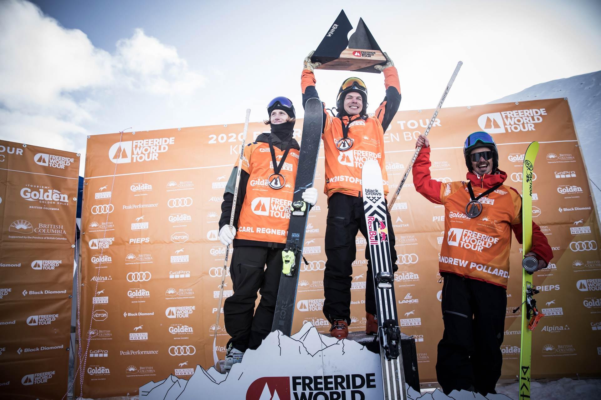 Die drei besten Männer in Kanda: Carl Regnér Eriksson (SWE), Kristofer Turdell (SWE), Andrew Pollard (USA) - Foto: freerideworldtour.com / D. Daher