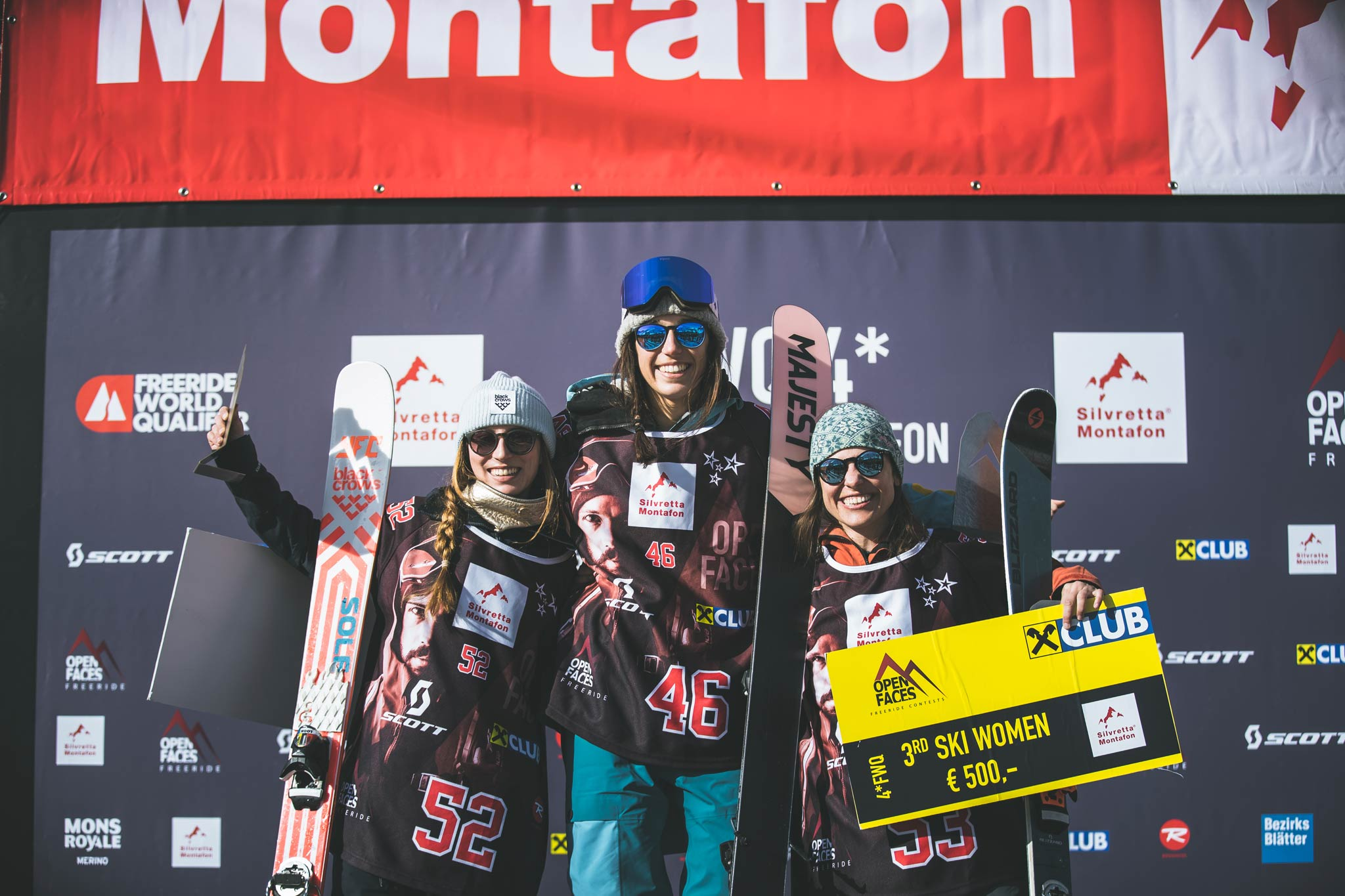 Die drei besten Frauen beim 4* FWQ Silvretta-Montafon: Megane Betend (FRA), Zuzanna Witych (POL), Claudia Klobasa (AUT) - Foto: Mia Knoll