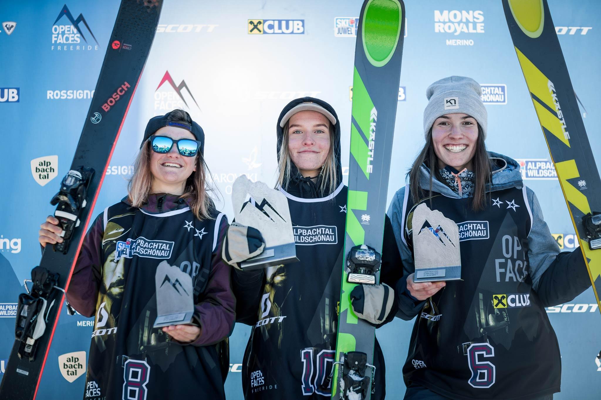 Die drei besten in der Kategorie U18 Ski Damen: Jil Lehnert (GER), Stefanie Freimann (AUT), Tina Bliznakova (BGR) - Foto: Mia Knoll