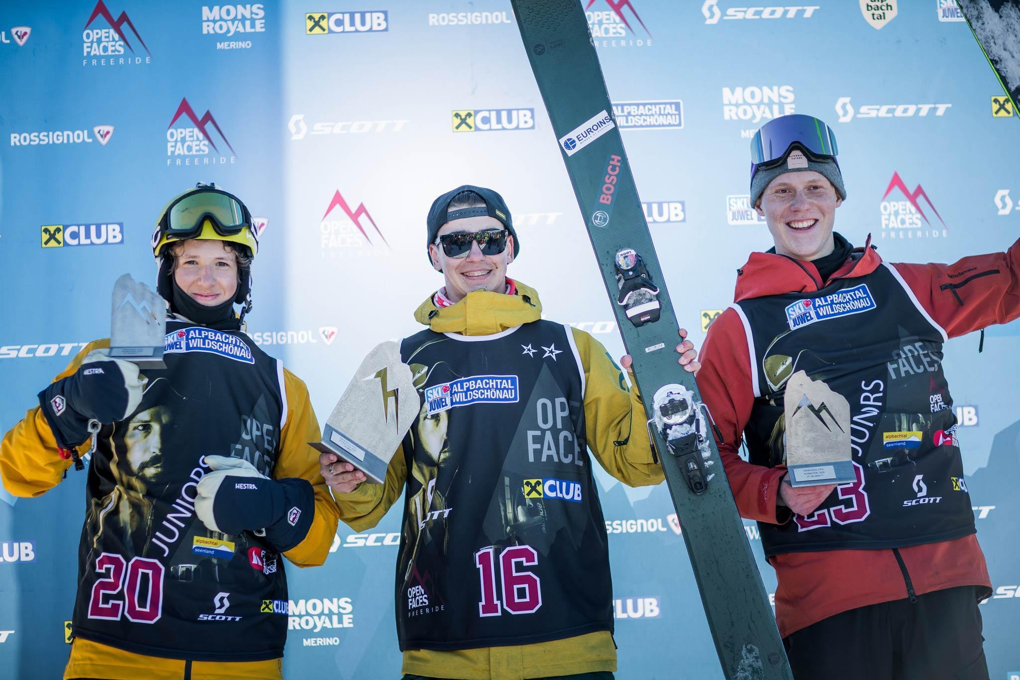 Die drei besten in der Kategorie U18 Ski Herren: Maximilian Steiner (AUT), Borislav Garibox (BGR), Georg Vachuda (AUT) - Foto: Mia Knoll