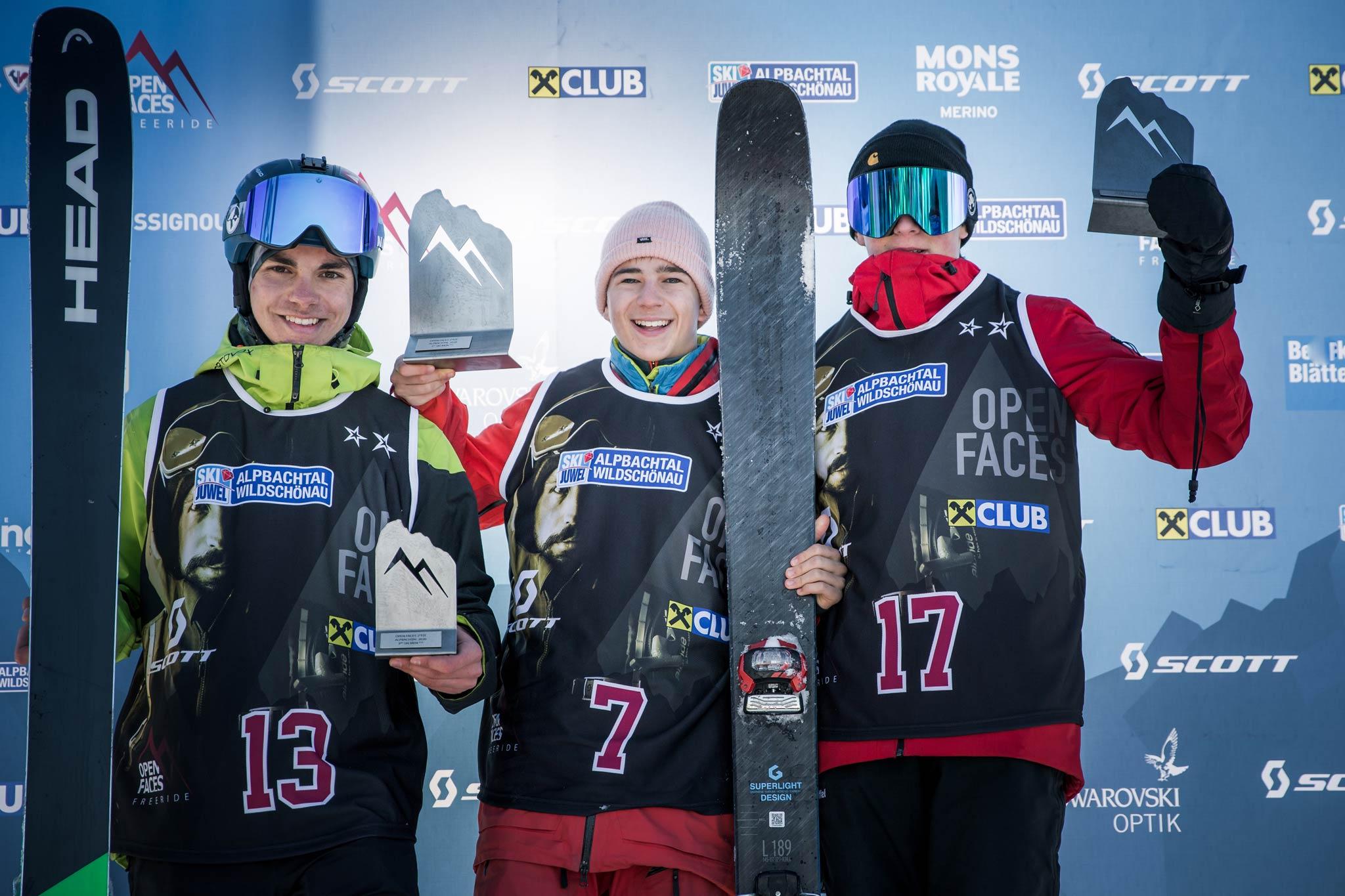 Die drei besten in der Kategorie U16 Ski Herren: Paul Rainer- Rist (AUT), Florian Michelini (AUT), Silvio Klimmer (AUT) - Foto: Mia Knoll