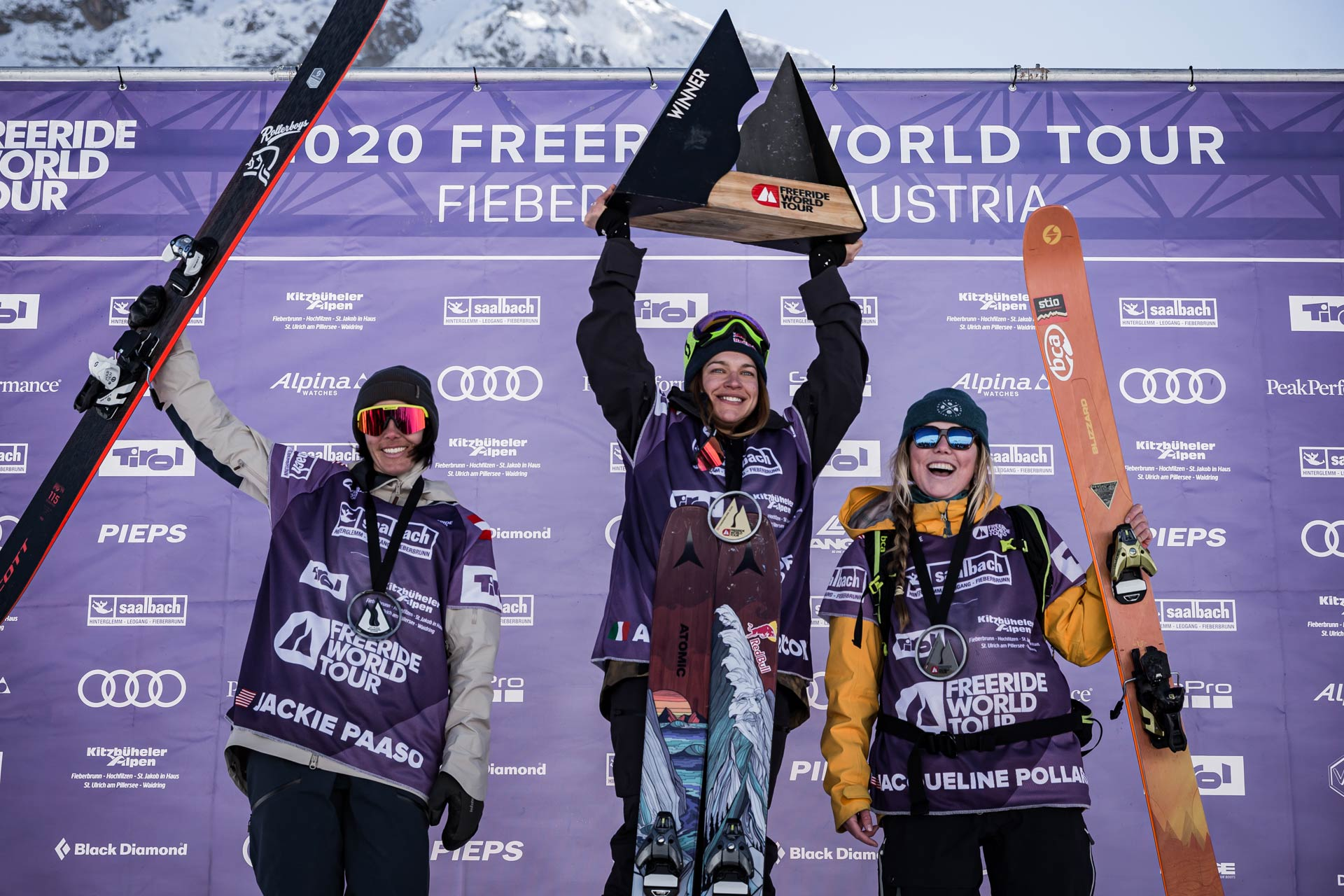 Die drei besten Frauen beim Freeride World Tour 2020 Contest in Fieberbrunn: Jaclyn Paaso, Arianna Tricomi, Jaqueline Pollard - Foto: freerideworldtour.com / D. Daher