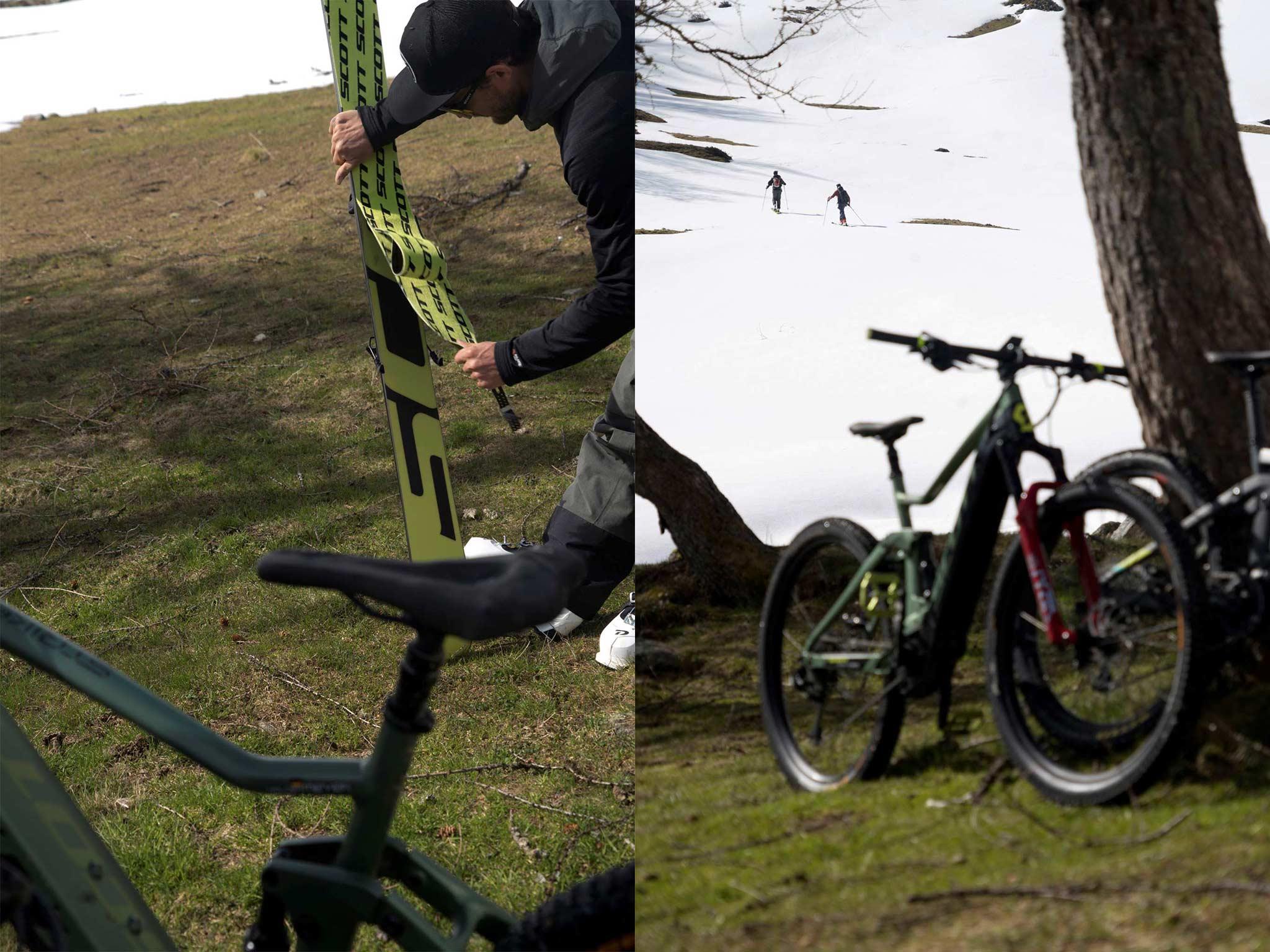 Irgendwann geht es auch mit dem E-Bike nicht weiter. Dann heißt es: Felle aufziehen und ab ins weiße Frühlings-Glück. - Foto: Roman Lachner