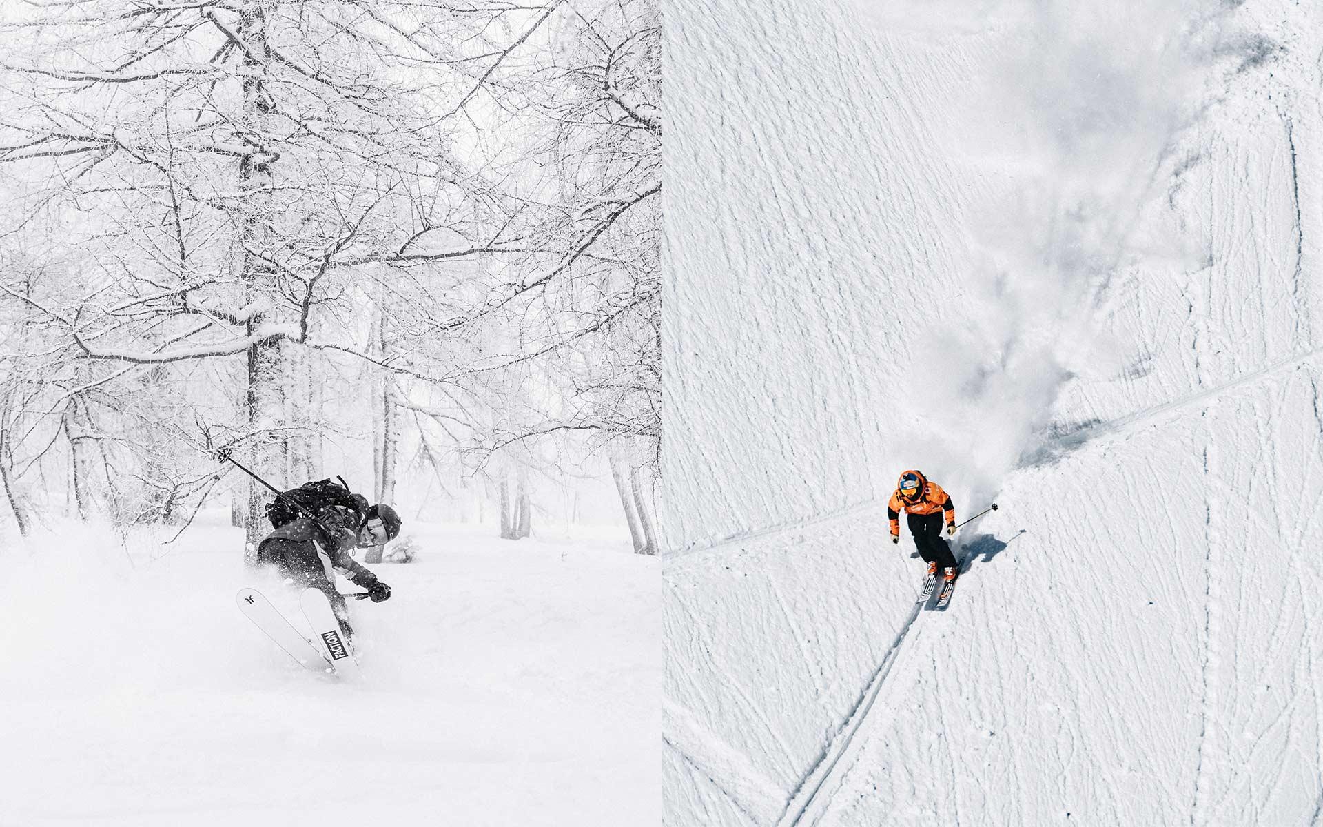 Hier fühlt sich die Peak Performance Vertical Pro Kollektion besonders wohl: im Backcountry unter extremen Bedingungen. - links: Elisabeth Gerritzen - rechts: Kristofer Turdell