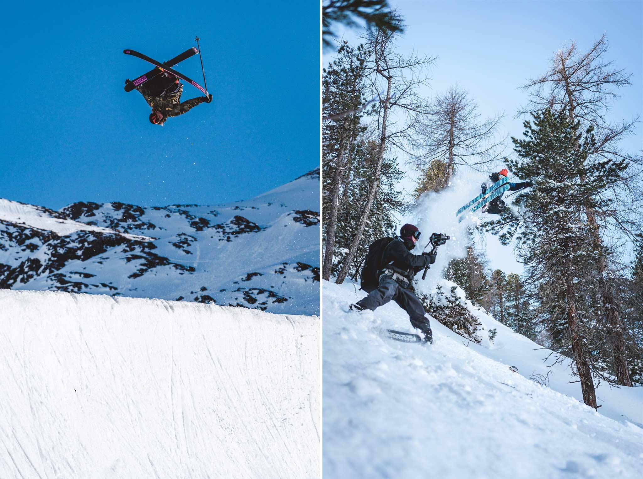 (links) Rider: Antti Ollila - Location: Kühtai - Foto: Jörg Angeli / Prime Skiing (rechts) Rider: Anttu Oikkonen - Location: Österreich - Foto: Jörg Angeli / Prime Skiing