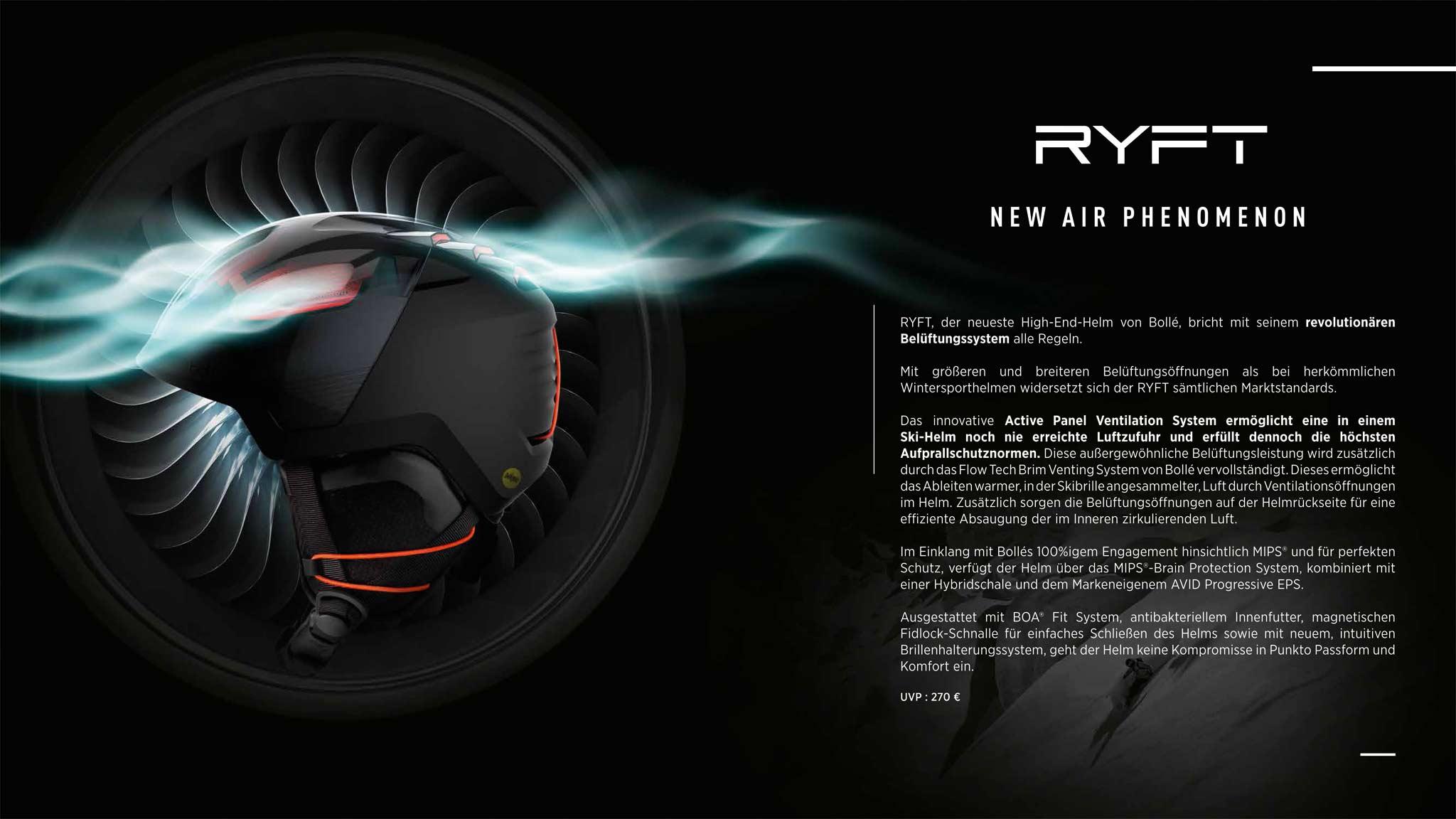 RYFT ermöglicht eine große Luftzufuhr, indem diese über vertikale Öffnungen einströmen kann, während die Paneele den Kopf vor dem Eindringen von Gegenständen schützen.