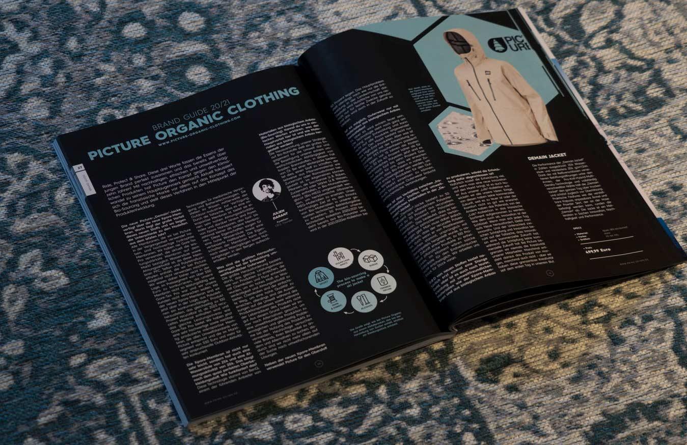 Picture Organic Clothing in der PRIME Skiing Brandguide 2021 Printausgabe