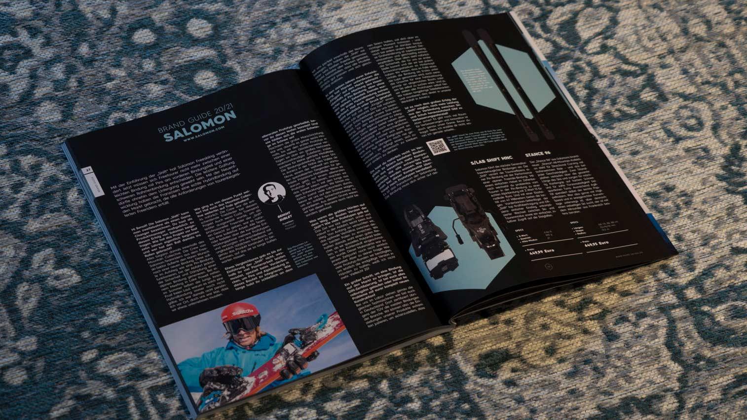 Salomon in der PRIME Skiing Brandguide 2021 Printausgabe