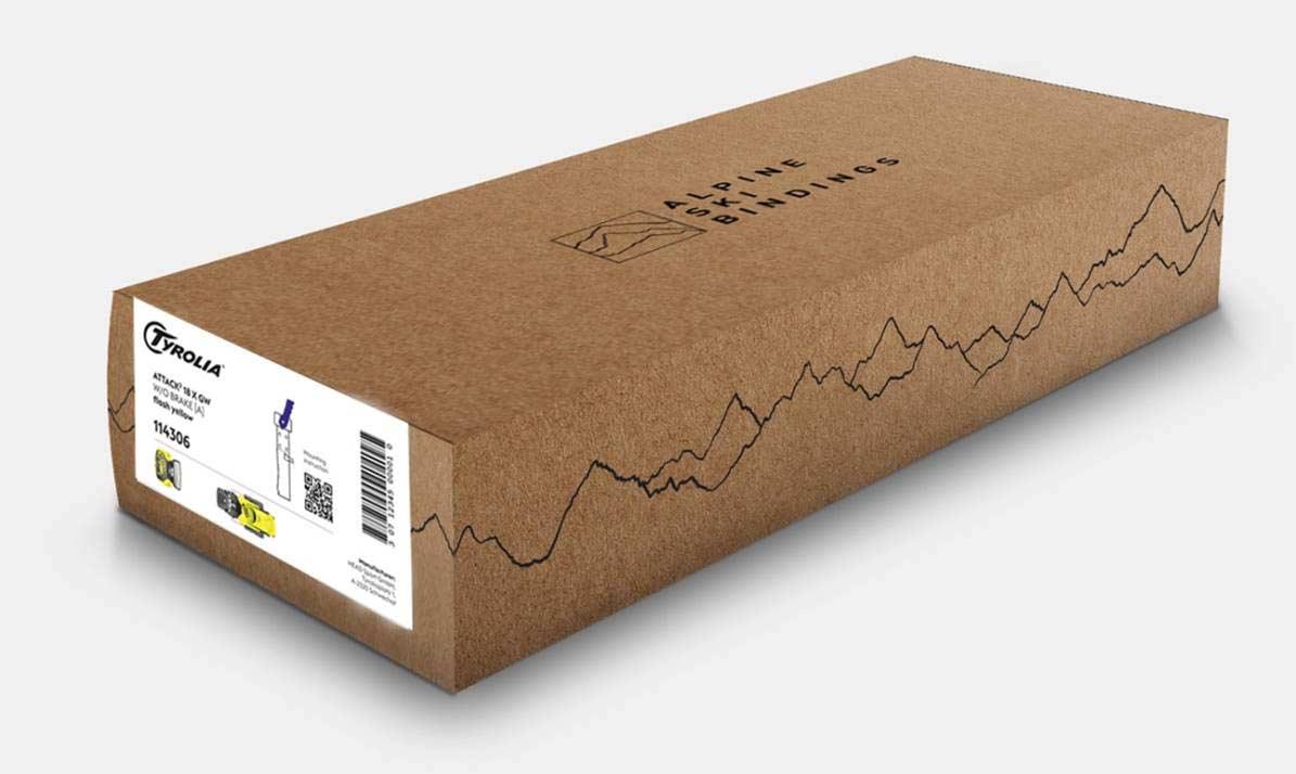 Die neuen Tyrolia Kartonverpackungen bestehen zu knapp 80% aus recyceltem Material bestehen, die Anleitung gibt's per QR Code ab sofort papierlos. - Foto: Tyrolia