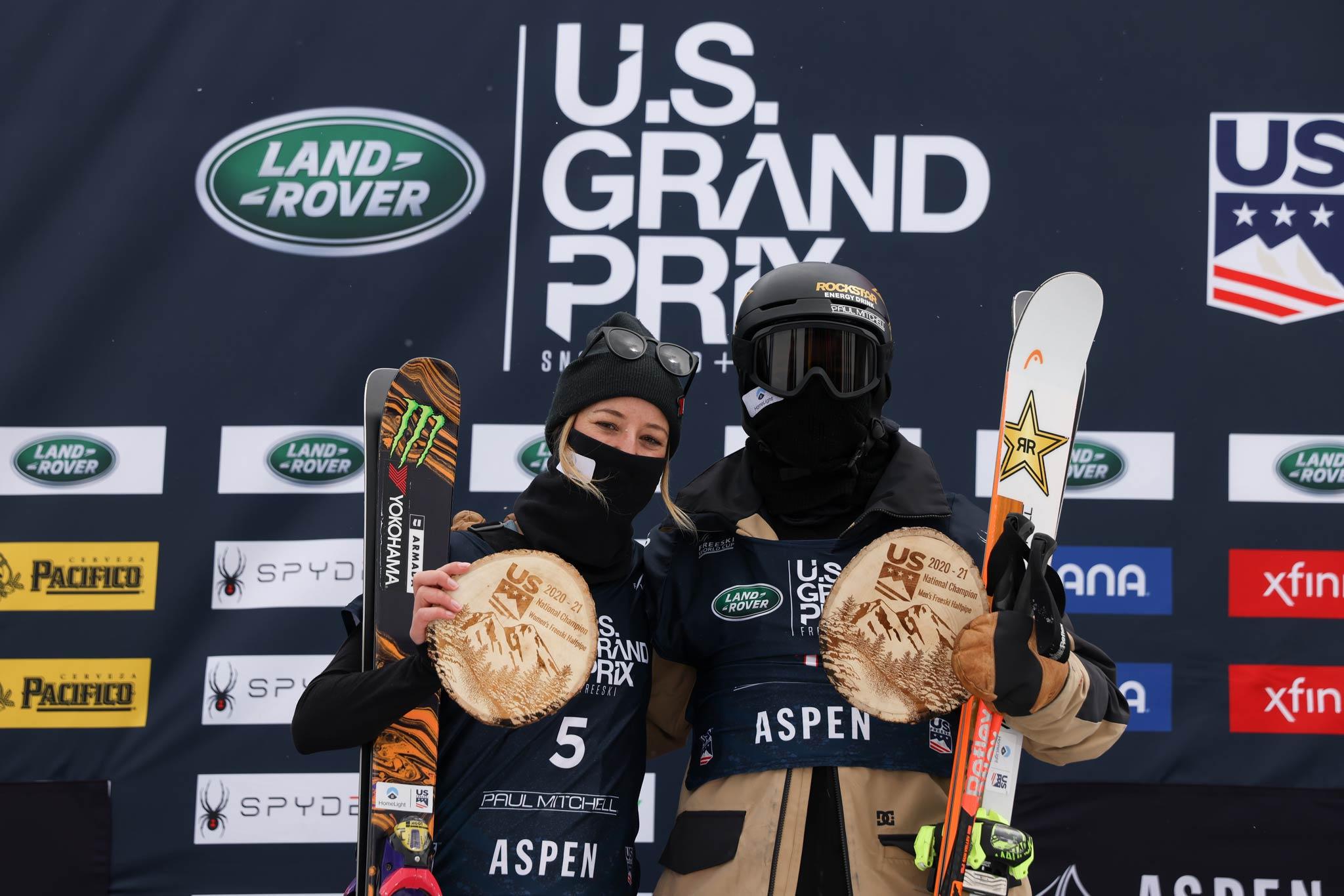 Die beiden Gewinner vom Halfpipe Weltcup in Aspen 2021: Rachael Karker und Aaron Blunck.