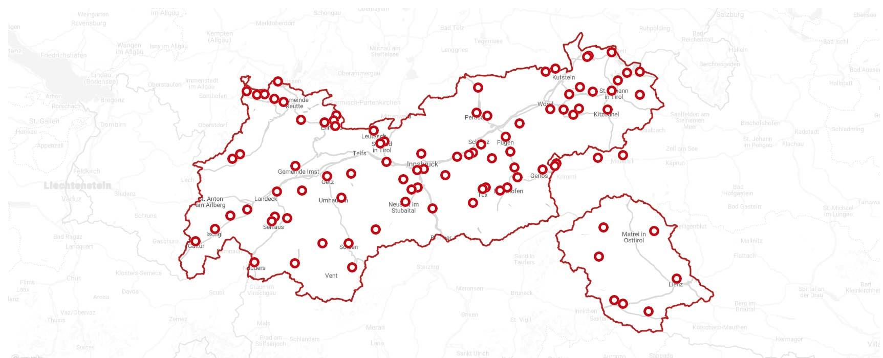Übersicht: Die Gebiete der Tirol Snow Card